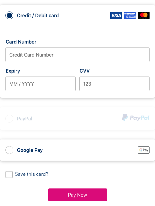 Preview image of the payment component